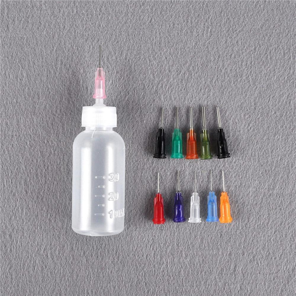 1set Transparent Polyethylene Needle Dispensing Dispenser Bottle For Rosin Solder Flux Paste + 11 Needles 30ml HOT SALE