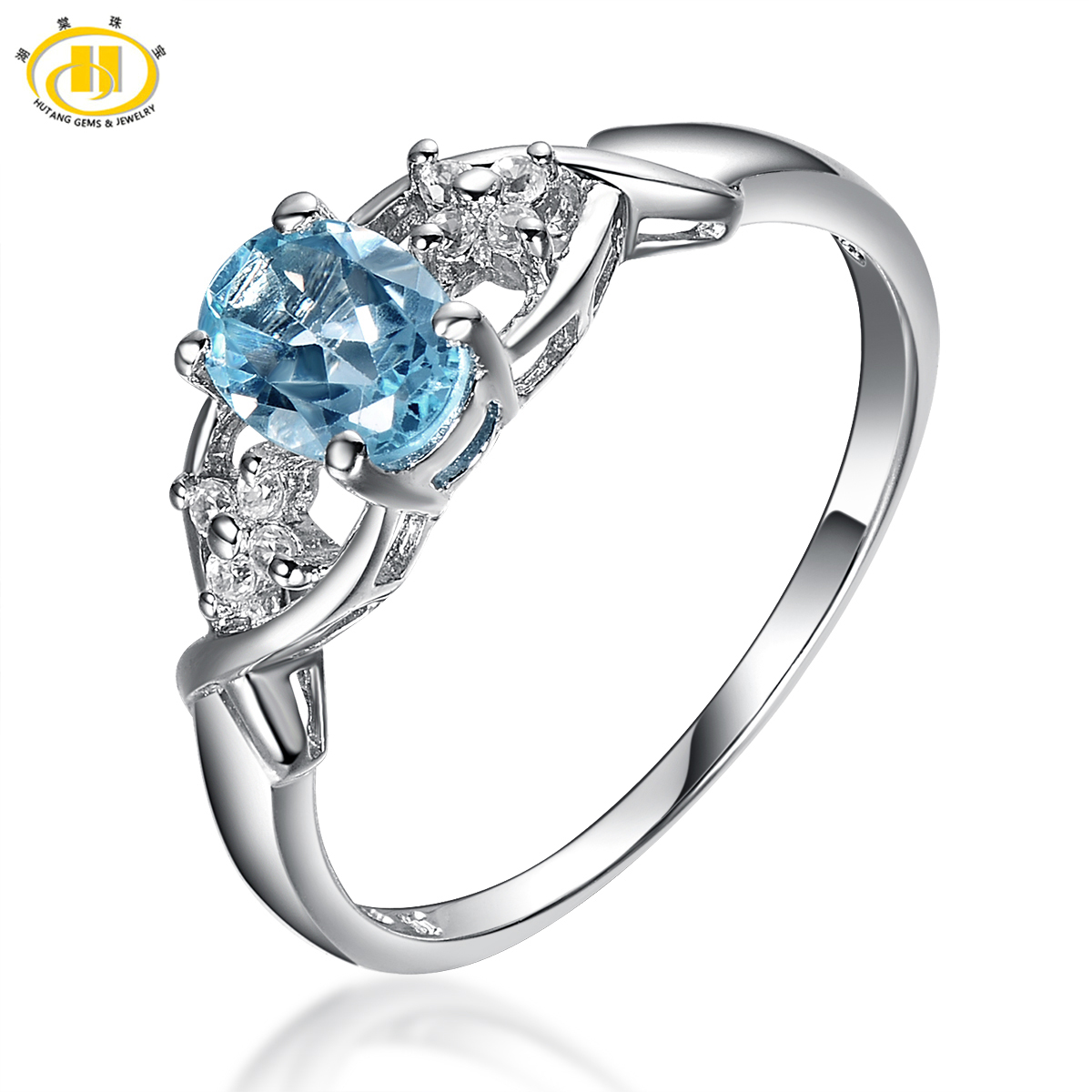 HUTANG 925 Sterling Silver Ring Classic 1ct Natural Blue Topaz Solid Rings Classic Gemstone For Women's wedding Fine Jewelry