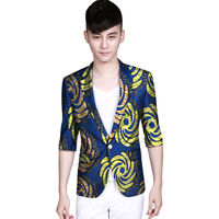 Africa Print Suit Jacket Half Sleeve Men Blazers African Festive Man Blazer Single Breasted Costume Customize African Clothing