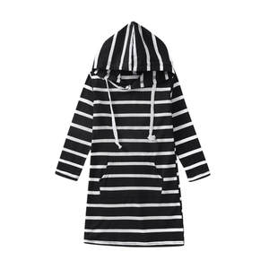 2020 New Spring Girls Hooded Striped Princess Dress Long Sleeve Cotton Dress Casual Outfit Kids Children's Clothing #BL2