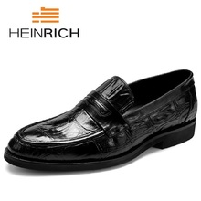 HEINRICH Formal Luxury Brand Slip-On Mens Dress Shoes Elegant Crocodile Skin Genuine Leather