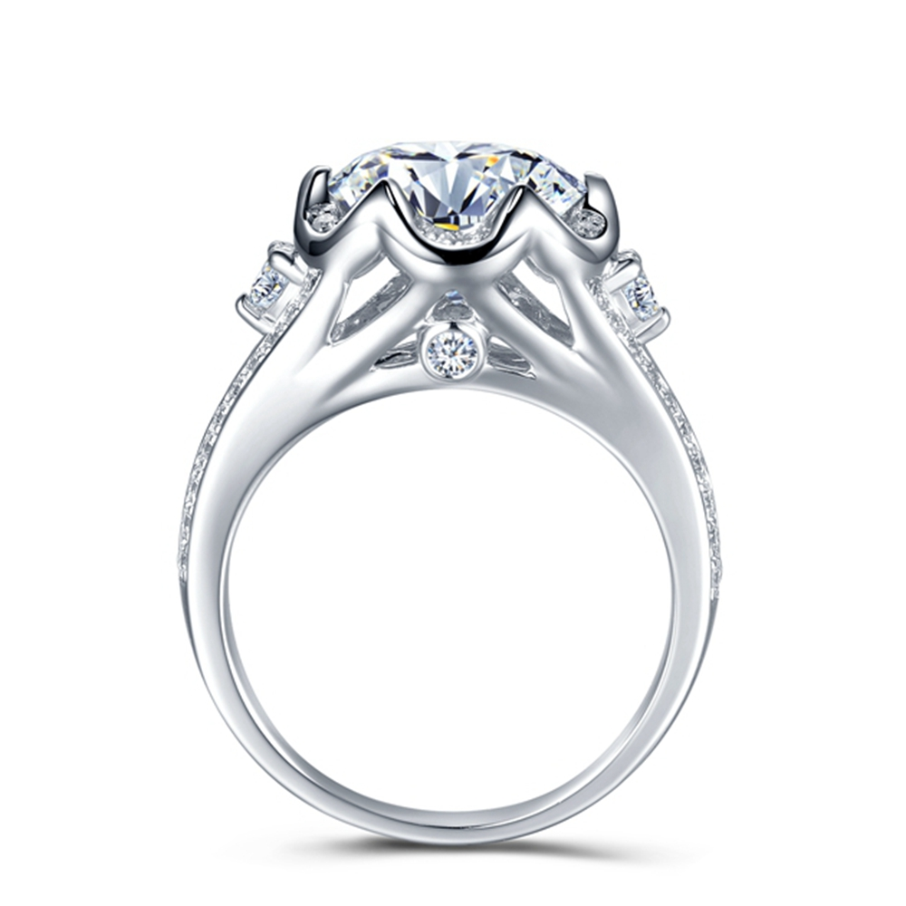 14K White Gold Moissanite Ring 5ct DEF color VVS1 Excellent Cut, Luxury Moissanite Weding Ring for Bridals