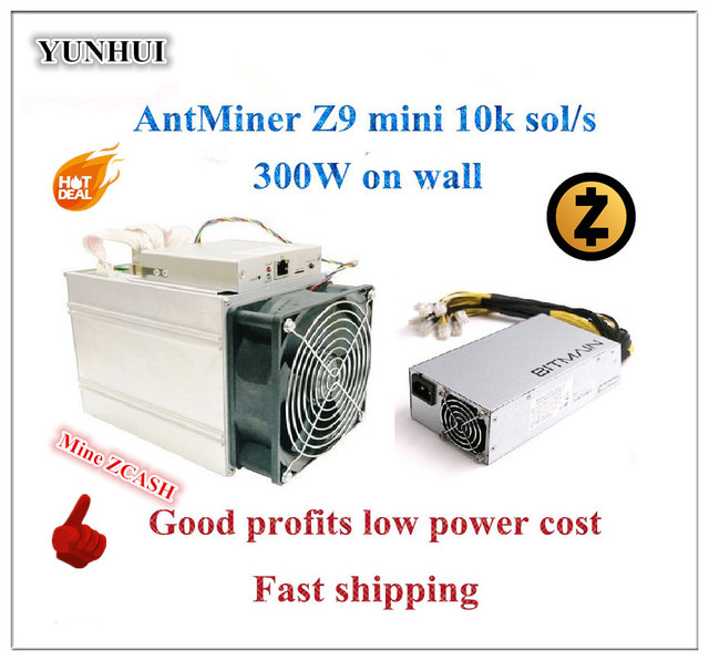 En stock utilisé ZCASH Miner Antminer Z9 Mini 10k Sol/s 300W avec Bitmain APW3 1600W PSU Asic Miner Equihash ZEN ZEC BTG mineur