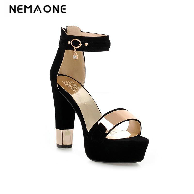 2018 New style high heels women sandals open toe sandals female thick heel platform summer shoes big size 34-43 2016 new summer pep toe woman sandals platform thick heel summer women shoes hook