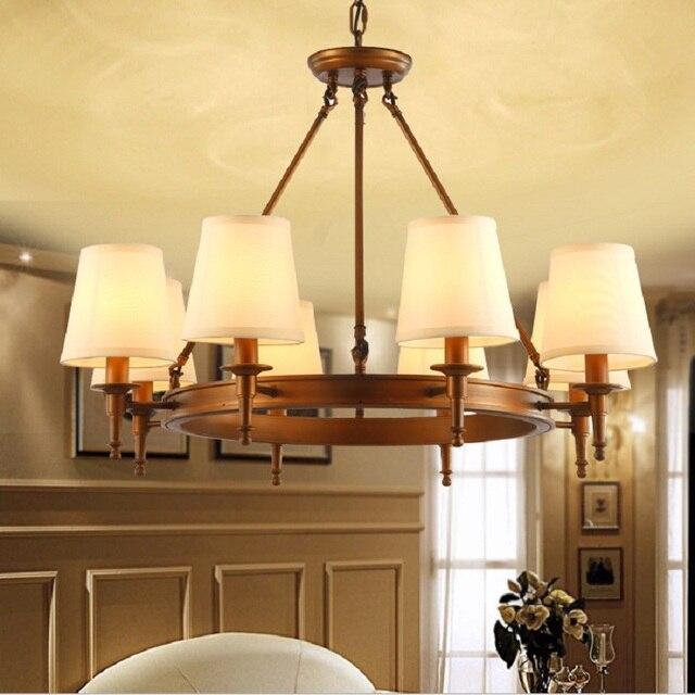 AuBergewohnlich Amerikanischer Kronleuchter Moderne Bronze Kupfer Kronleuchter Für  Schlafzimmer Küche Wohnzimmer Stoff Lampenschirm Decke Hause Beleuchtung