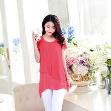 Women Blouses Summer 2016 Korean Fashion Short Sleeve Vintage Chiffon Blouse Plus Size Women Clothing Ladies Tops Blusa Feminina