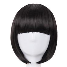 Krótkie włosy fei-show syntetyczne włókno termoodporne czarny Bob peruka z płaską grzywką nowoczesne Show Cosplay Halloween karnawałowe peruki tanie tanio 1 sztuka tylko Falista 120 Średnia wielkość Wysokiej Temperatury Włókna YD012 None Lace Wigs