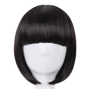 Short Hair Fei-Show Synthetic Heat Resistant Fiber Black Bob Wig With Flat Bangs Modern Show Cosplay Halloween Carnival Wigs(China)