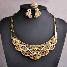 Blucome Women Jewelry Sets Big Flower Pendant Necklace And Hoop Earring Finger Ring Wedding Bridal Enamel Gold Color Jewelry Set(China)