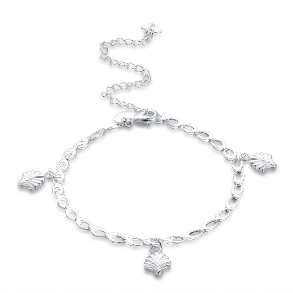 Три листья деревьев очарование Ножные браслеты стопы носить украшения для девочек Подарки 925 штампованные с серебряным покрытием безопасн...