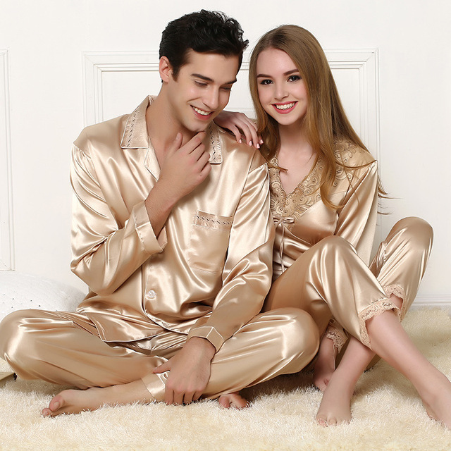 High Quality Satin Pajamas Nightgown Robe long-sleeve sleepware set of one  shirt and pant 4fc107c4c
