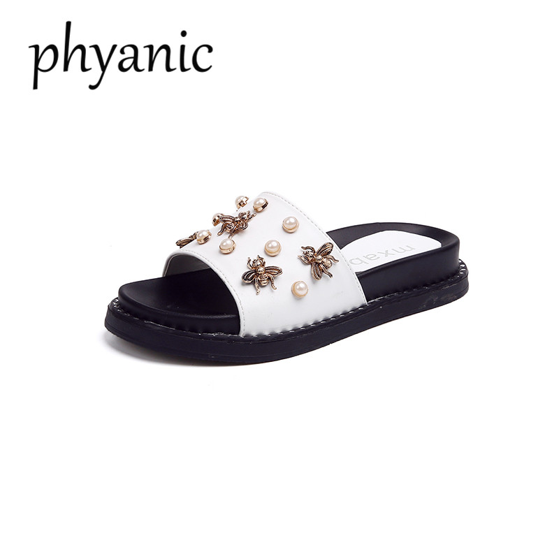 Phyanic Brand Bee Pearl Women Slides Black White Summer Beach Shoes flat Heel Leather Slippers Woman Slides Platform outdoor