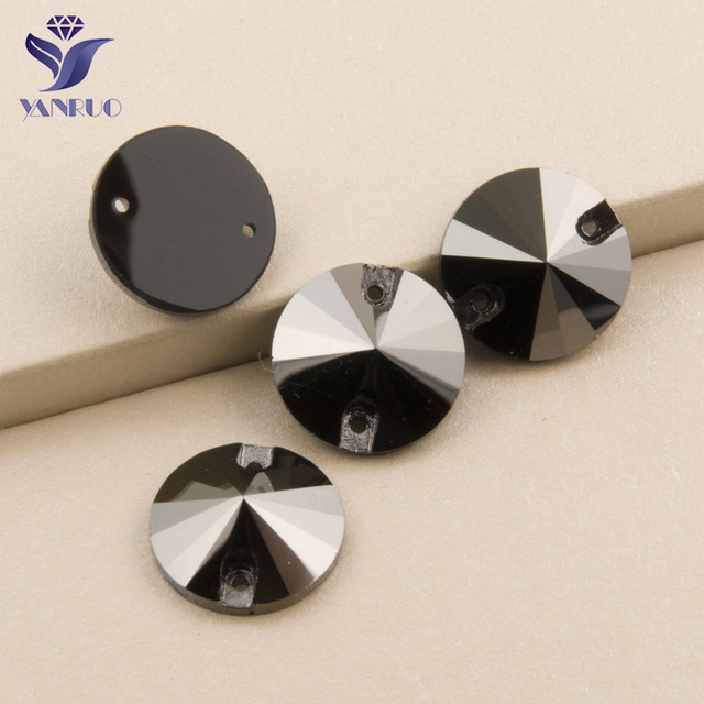 YANRUO Jet Hematite Sew On rhinestones Glass Crystal Sewing Strass Flatback  Rhinestone Grery Stones For Clothes 0b1ba8883cf0
