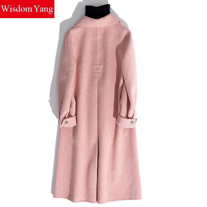 2018 Femmes Tranchée Mouton Coat Chaud Vintage Manteau Mince Manteaux Long De Poule Survêtement Pink Femme Oversize Hiver Laine Rose gqzgnwxBP