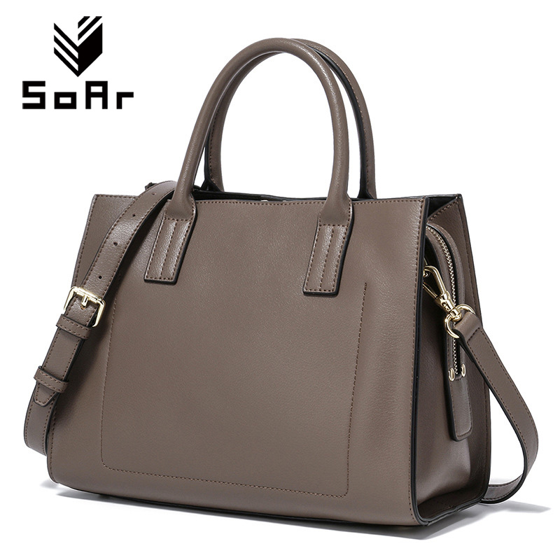 SoAr Women Bag Genuine Leather Tote Shoulder Messenger Bags Vintage Luxury Leather Handbags Designer Pocket High Quality Handbag soar cowhide genuine leather bag designer handbags high quality women shoulder bags famous brands big size tote casual luxury