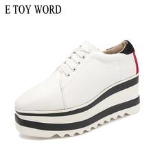 E TOY WORD Korean Patent Leather flat shoes 2019 New Autumn Platform Fashion Woman Flats Casual Lace up square toe women shoes недорого