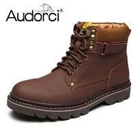 Audorci 2018 Fashion Genuine Leather Men Ankle Boots Warm Winter Snow Warm Men S Boot Lace