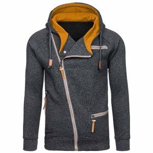 Image 4 - Nova moda masculina camisola com zíper outonnsolid malha streetwear masculino suéteres de inverno com cordão casual camisolas finas hip hop