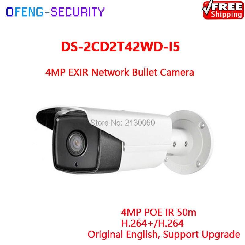 HIKVISION Camera IPC DS-2CD2T42WD-I5 4MP EXIR Network Bullet Camera IR 50m Original English Version Support Upgrade