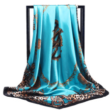 LEAYH Fashion Leopard Printed Faux Silk Scarf Women Hijab 90*90cm Shawls Square Scarves Foulard Head Wraps Good Quanlity