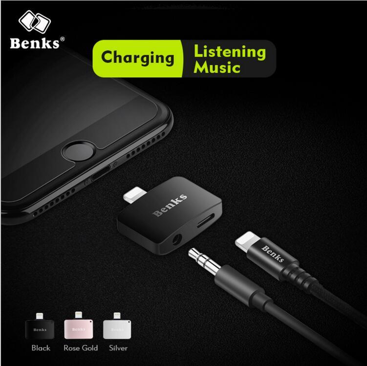 imágenes para Benks 2 en 1 Cargador con Adaptador De Audio Para el iphone 7 6 s Cargador Cable de Carga y Escuchar más 5S ios 10.3 o alto versión