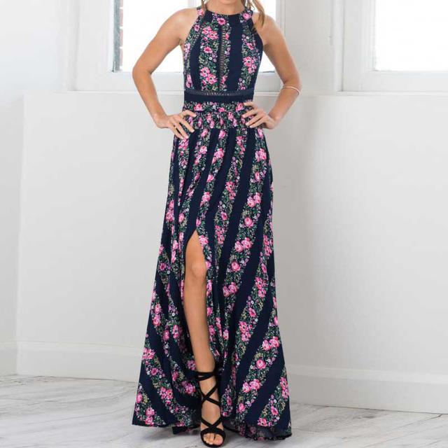 Mulheres halter maxi dress dividir longo maxi vestidos sem mangas vestido de verão praia bohemian floral backless dress partido vestidos feminino