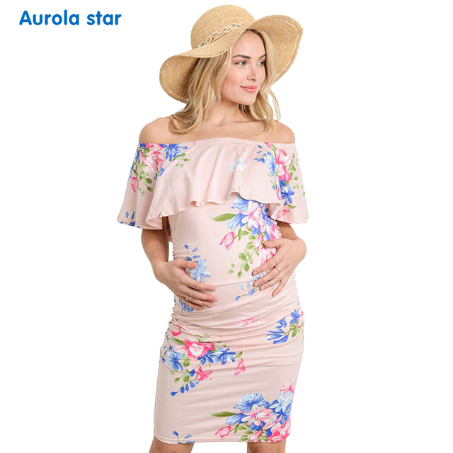 93e03bcd55c Pregnancy Photograph Baby Shower Clothes Dress Floral Ruffle Off Shoulder Maternity  Dresses Short Party Clothes Women For Summer