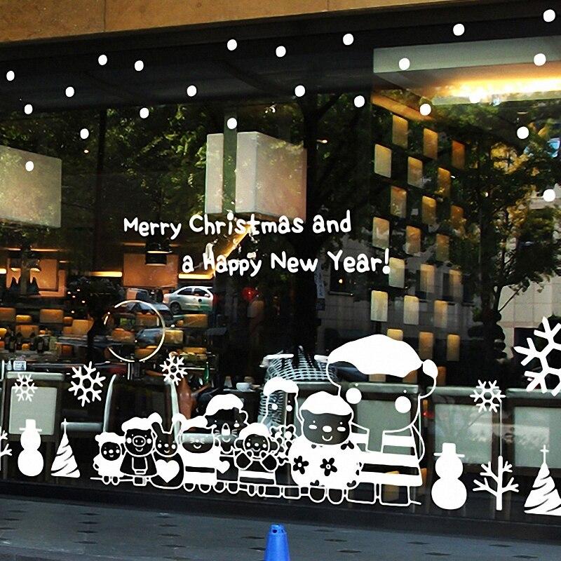 Noël X mas grand mur verre fenêtre autocollant autocollant boutique décor à la maison décoration murale xmas024
