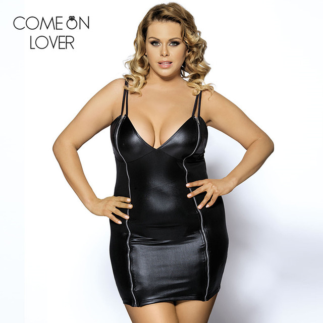 R7858 High quality plus size leather dress V neck fashion women ...