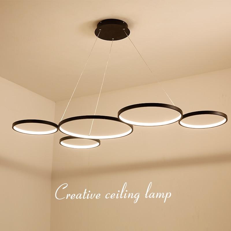 NEO Gleam White/Black Minimalism Modern LED Pendant Lights for Dining Kitchen Room Living Room Hanging Suspension Pendant Lamp