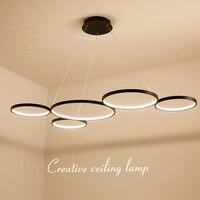 NEO Gleam White/Black Modern LED Pendant Lights for Dining Kitchen Room Living Room Żyrandol Hanging Suspension Pendant Lamp