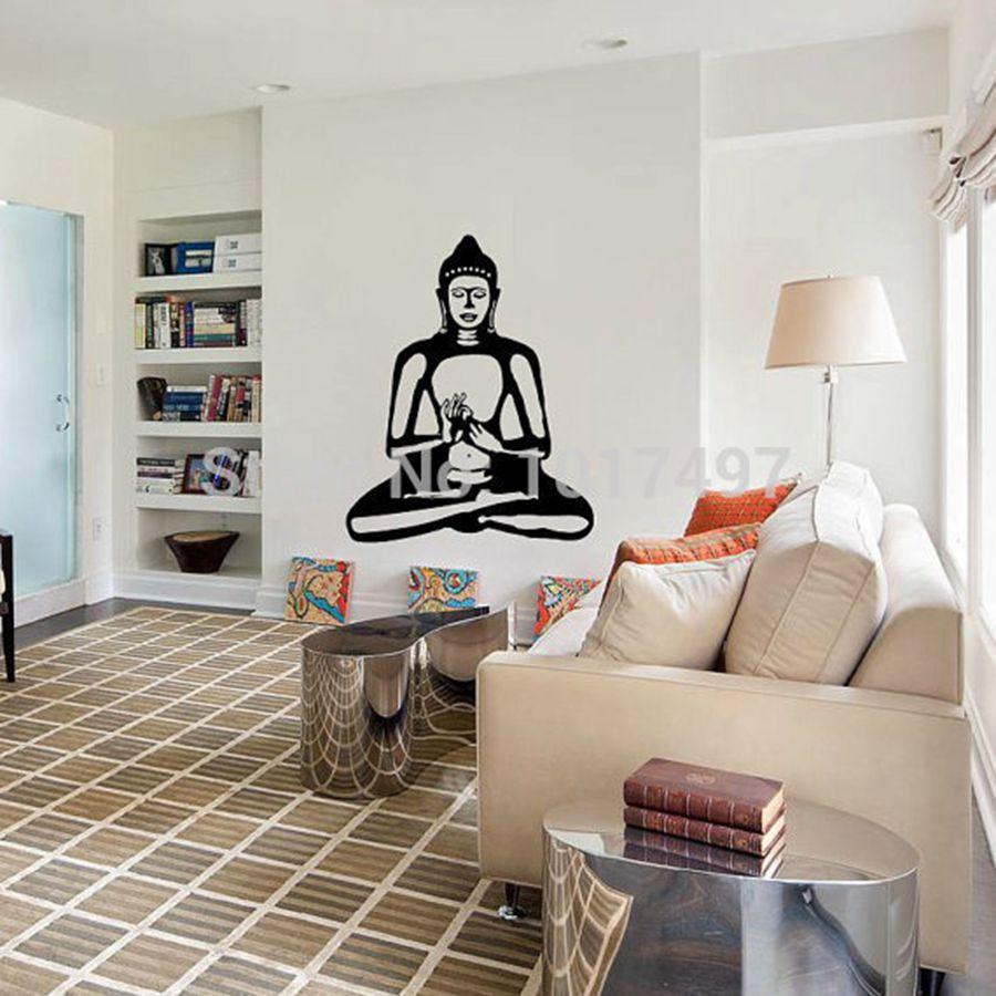 Buddha Wall Decal Cute Vinyl Sticker Home Arts Wall Decals Buddhism Statue , Buddhist Home Decor Wall Art ...