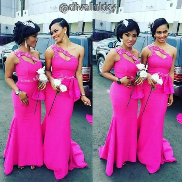 Hot Sexy African Bridesmaids Dresses One Shoulder Sleeveless Honor Of Maid  Formal Gown Nigerian Fuchsia Long Dress Bridesmaid 1e3c7311eec3