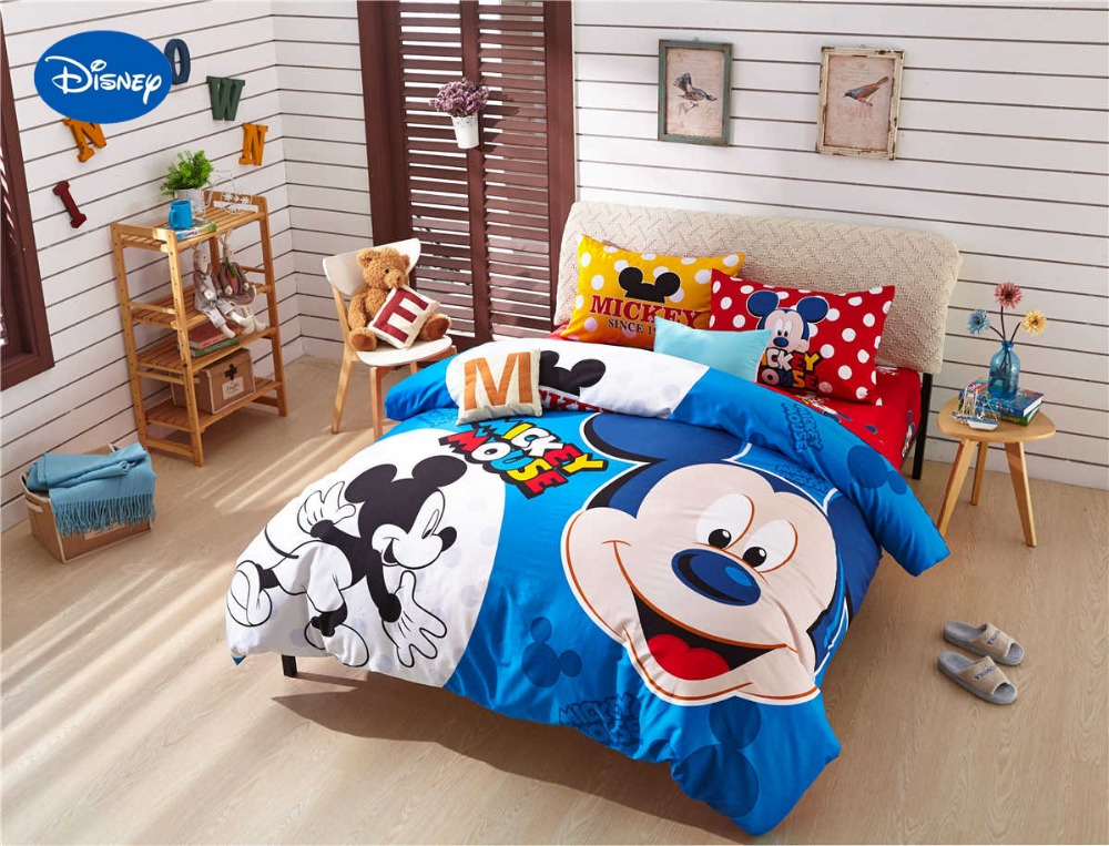 Cartoon Disney Print Bedding Set Cotton Red Blue Polka Dot Mickey Mouse Comforter Bed Sheet
