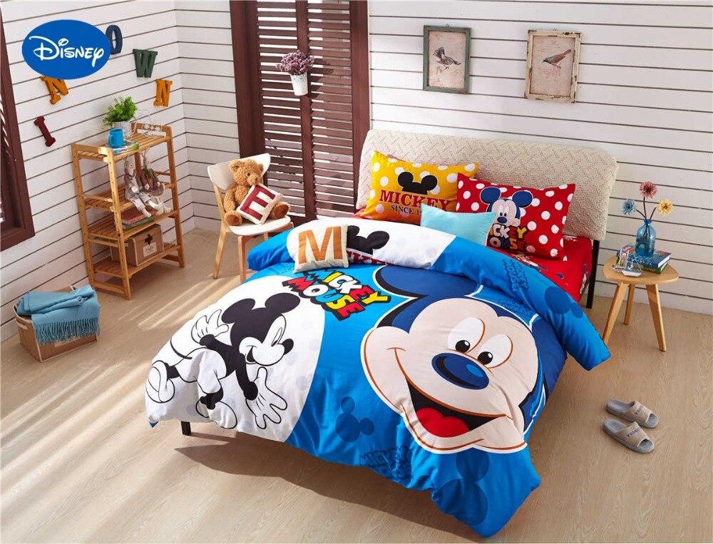 82002fa29a5b0 Dessin animé de Disney Impression Ensemble de Literie de Coton Rouge Bleu  Polka Dot mickey Mouse Couette Drap de Lit Housse de Couette Filles Chambre  Décor ...