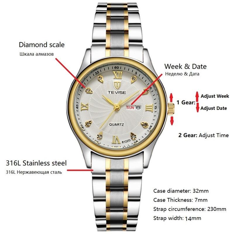 Image 2 - TEVISE Luxury Gold Women Watch Week Day Date Bracelet Watches Ladies Waterproof Fashion Quartz Steel Wrist Watches montre femmemontre fashionmontre femmemontre femme waterproof -