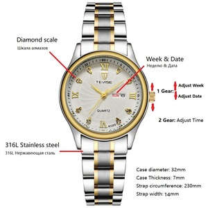 Image 2 - TEVISE reloj dorado de lujo para mujer, pulsera de acero de cuarzo, resistente al agua, con fecha y semana