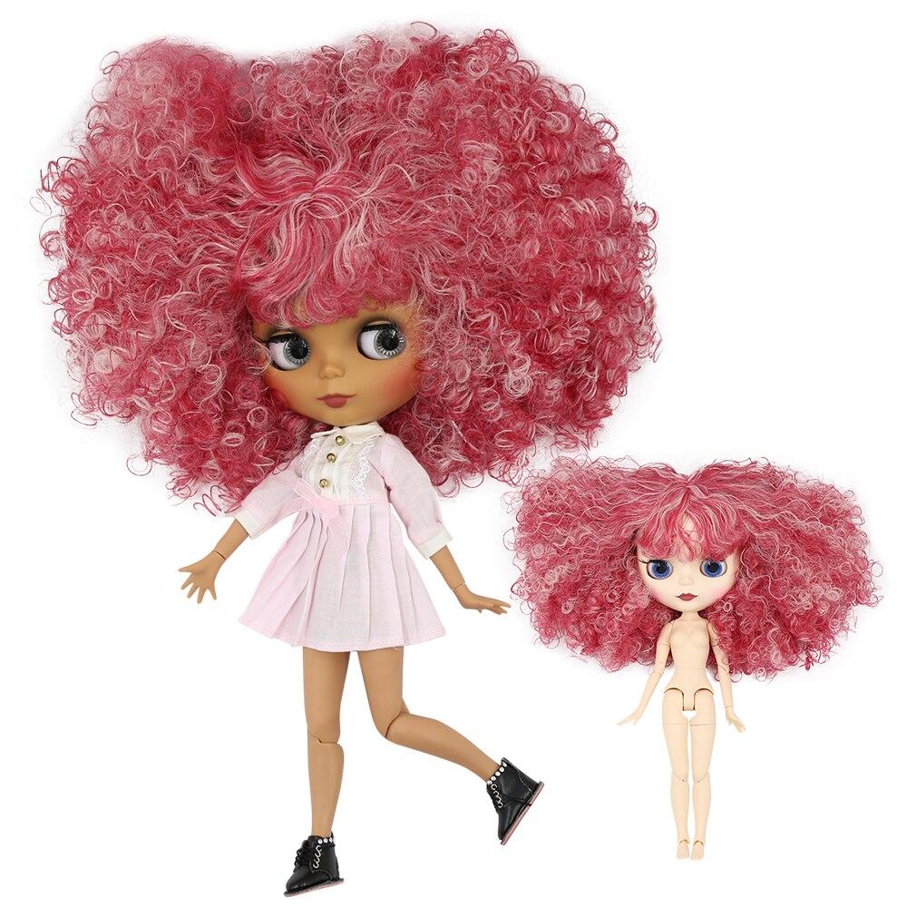 氷工場ブライス人形 1/6 bjd 共同体ダーク/ホワイトスキンマット面、レッドミックスピンク髪 BL2352/QE155 30 センチメートル  グループ上の おもちゃ & ホビー からの 人形 の中 1