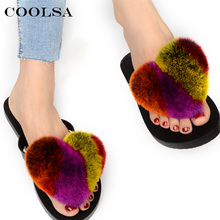 Coolsa Women Flip Flops Pom Pom Fur Sandals Fluffy Real Rabbit Hair Cartoon Heart-Shaped Indoor Slippers Lady Cute Plush Shoes