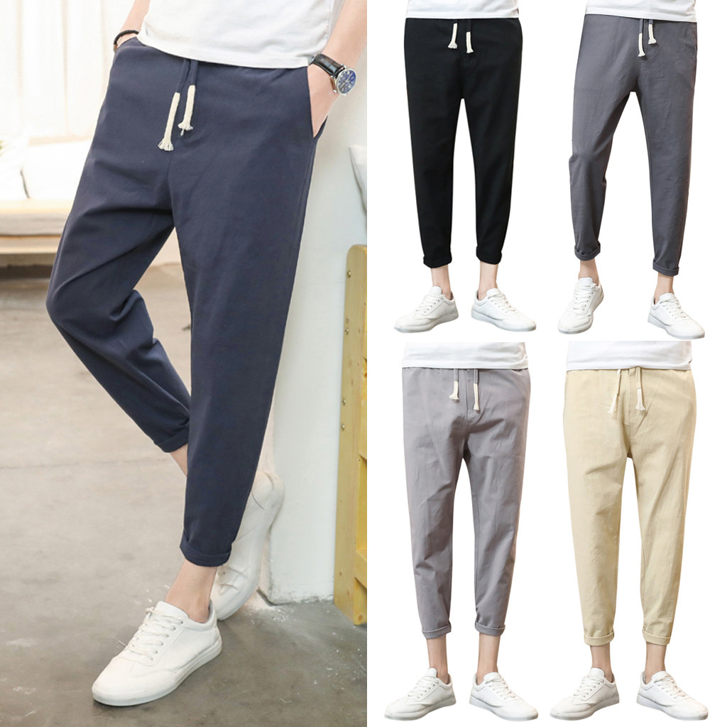 Men Pure Color Trousers Tethers Cotton Linen Nine Points Small Feet Casual Pant Pantalones Hombre Streetwear Joggers Sweatpants