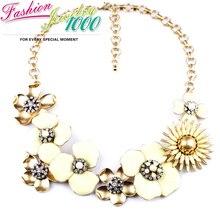Роскошные эмаль точка цветение цветок кристалл коренастый себе колье воротник ожерелье ювелирные изделия для женщин бесплатная доставка