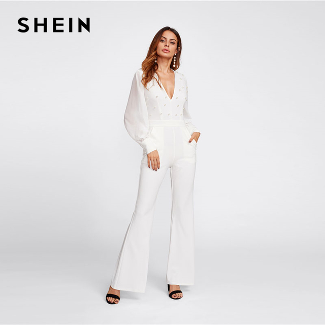 96efa43334a SHEIN Deep V Neck White Jumpsuit Women Mid Waist Plunging Pearl Embellished  Bishop Sleeve Elegant Flared