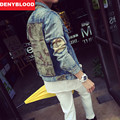 2016 Autum New Fashion Denim Jacket Men Slim Straight Distroyed Camouflage Outwear Casual Jeans Men Jacket M-2XL 9325