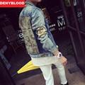 2016 Autum New Fashion Denim Jacket Men Slim Straight Distroyed Camouflage Outwear Casual Jeans Men Jacket M-2XL 9325