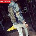 2016 Autum Nova Moda Homens Jaqueta Jeans Fino Reta Distroyed Camuflagem calças de Brim Dos Homens Jaqueta Outwear Casuais M-2XL 9325