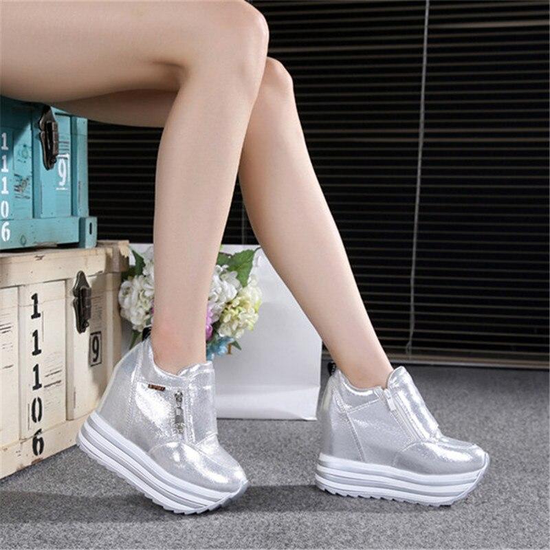 De Moda Las Plataforma Oculta Blanco Negro Mujer Para 8 Pintura Señoras 1 Superior 7 Cuña Zapatos Botas Alto 2019 Talón Mujeres 5 4 Capa Casual qwUFAdnPfP