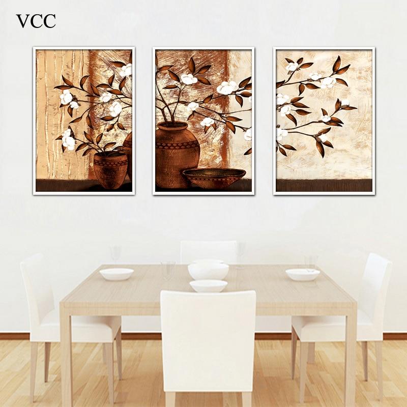 3 կտոր պատի ներկով ծաղիկների նկար պաստառ, կտավ նկարներ պատի վրա Նկարներ հյուրասենյակի համար Cuadros- ի ձևավորում, պատի դեկոր