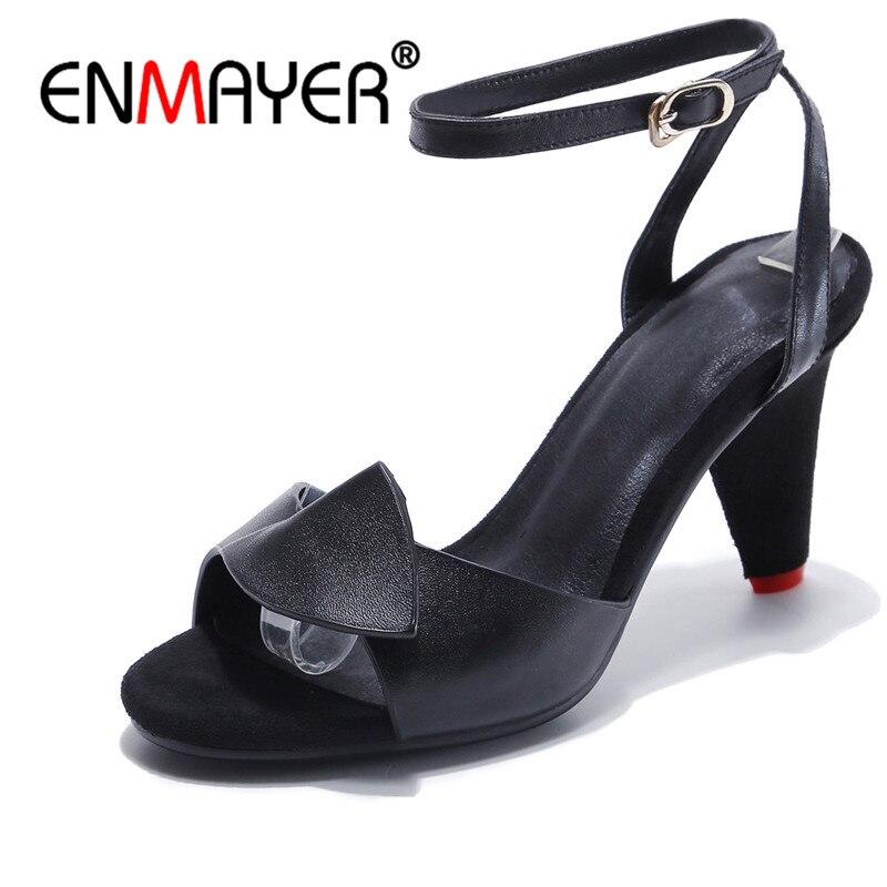 ENMAYER High heels sandals Fashion Woman Shoes Summer Causal Buckle strap sandals Spike heels Leather Shoes women Ruffles CR853