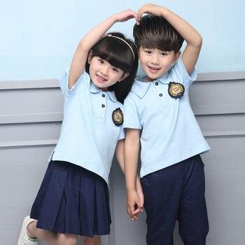 Летняя Детская школьная форма одежда с коротким рукавом хор ученики начальной школы чтения британские студенческие школьная форма