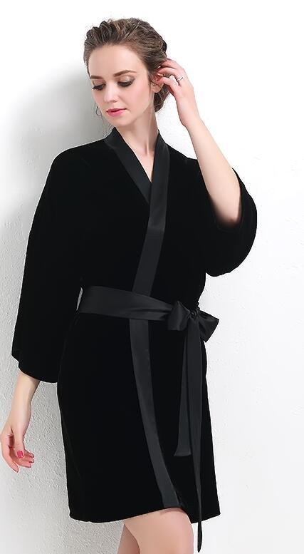 Spring and autumn luxury velvet flat flannelette V neck collar color block women's paragraph kimono sleepwear nightgown robe